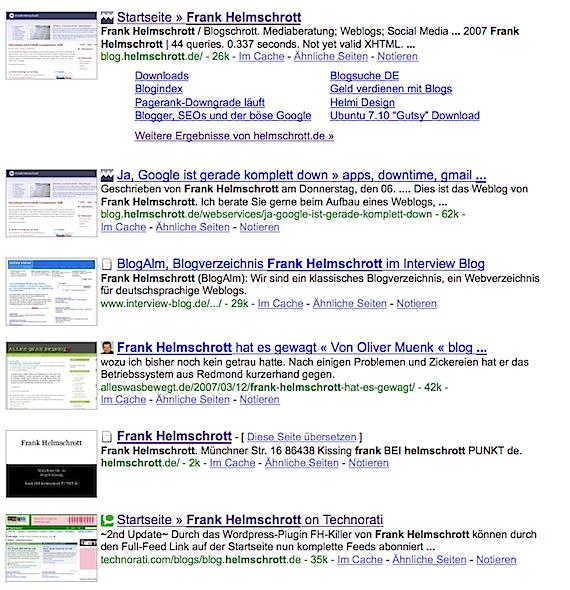 Google Vorschaubilder und Favicons