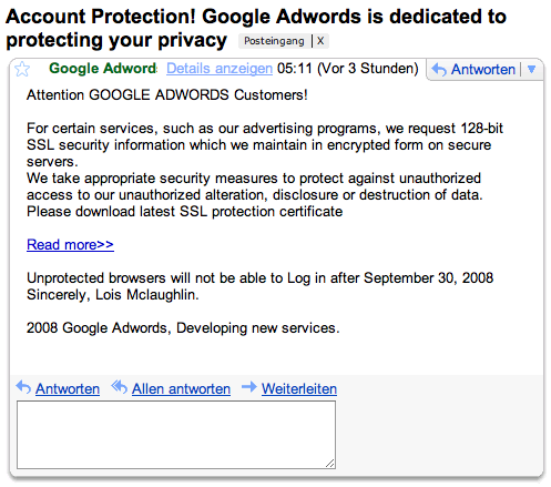 Google Adwords Phishing Mail