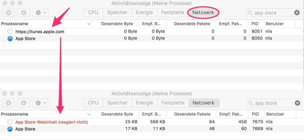 Mac App Store Problem: Aktivitätsanzeige Netzwerk