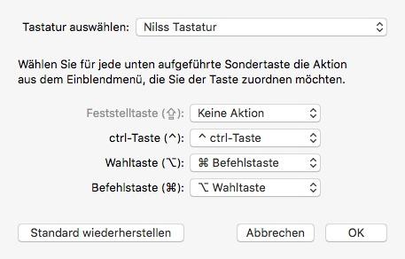 OS X Tastatur Belegung Sondertasten angepasst