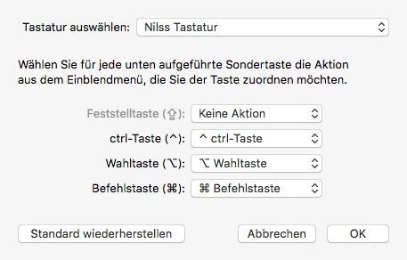 OS X Tastatur Belegung Sondertasten normal