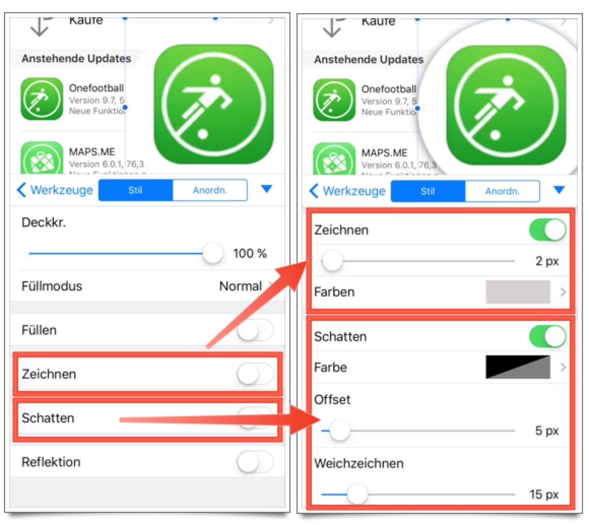 Pixelmator iOS: Callout hervorheben
