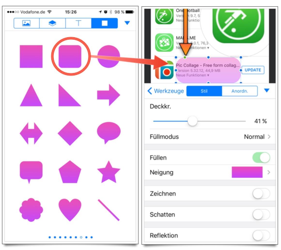 Pixelmator iOS: Bereich hervorheben durch Einfärben