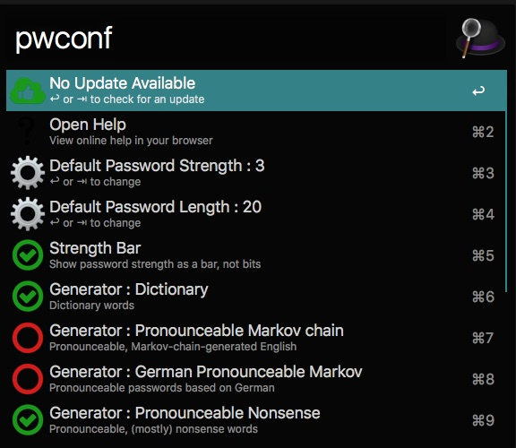 Alfred App: Passwort Workflow Konfiguration